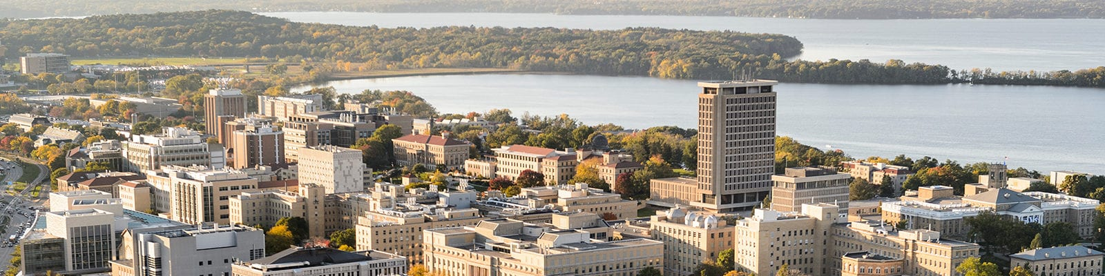 aerial view of the UW–Madison campus and Lake Monona