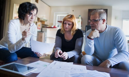 a financial advisor talks to her client