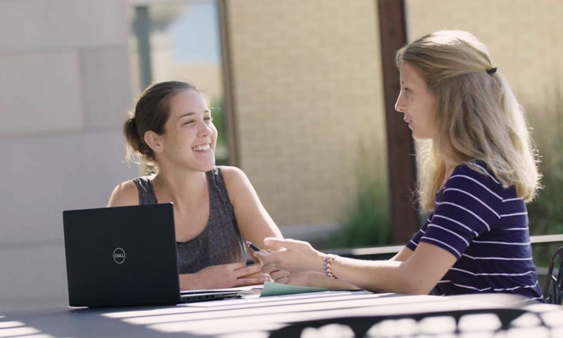 Bridget Olig talks to an advisor